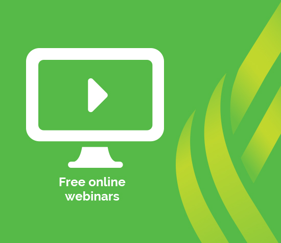 """Free online webinars"" graphic displaying a computer icon"
