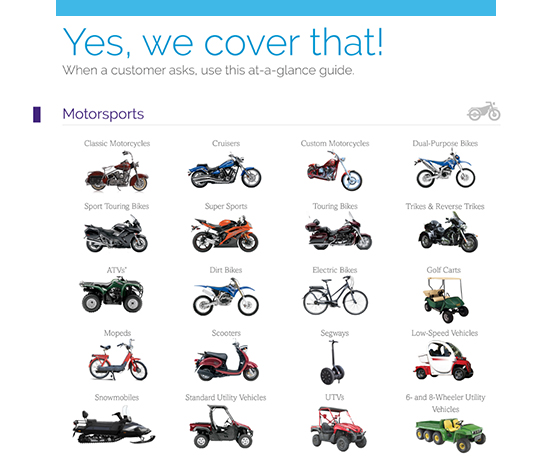 """Yes, we cover that!"" graphic depicting a variety of motorsports vehicles"