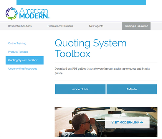 "Screenshot of the ""Quoting system toolbox"" site"
