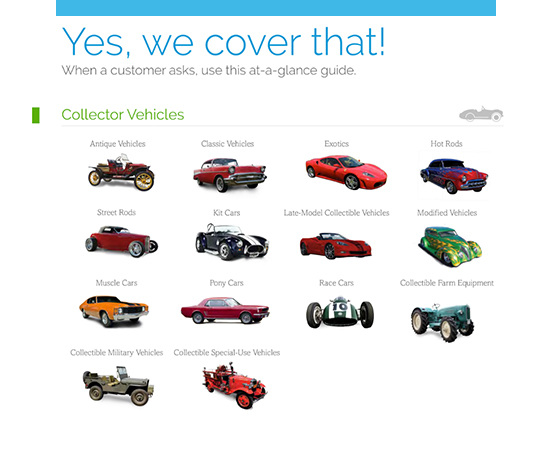 """""""Yes, we cover that!"""" graphic with a variety of collector vehicles on it"""