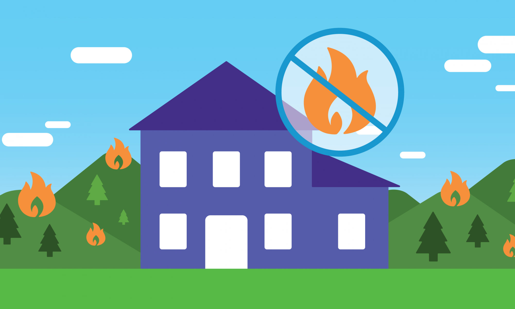 Graphic of a purple house with small flames around it
