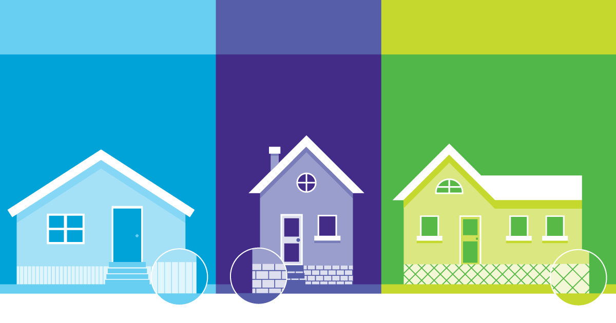 Graphic of three houses, one blue, one purple, one green