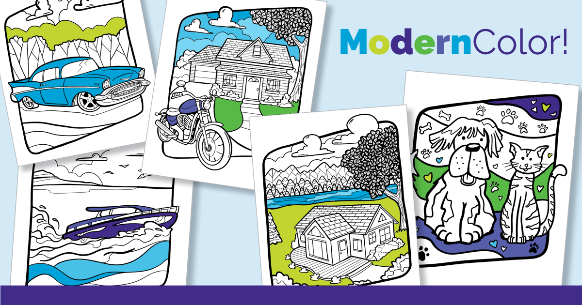 ModernColor! graphic featuring coloring pages of cars, houses and pets