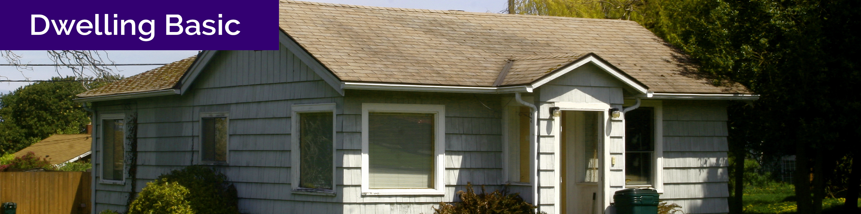 """Dwelling basic"" text over photo of a dwelling basic house"