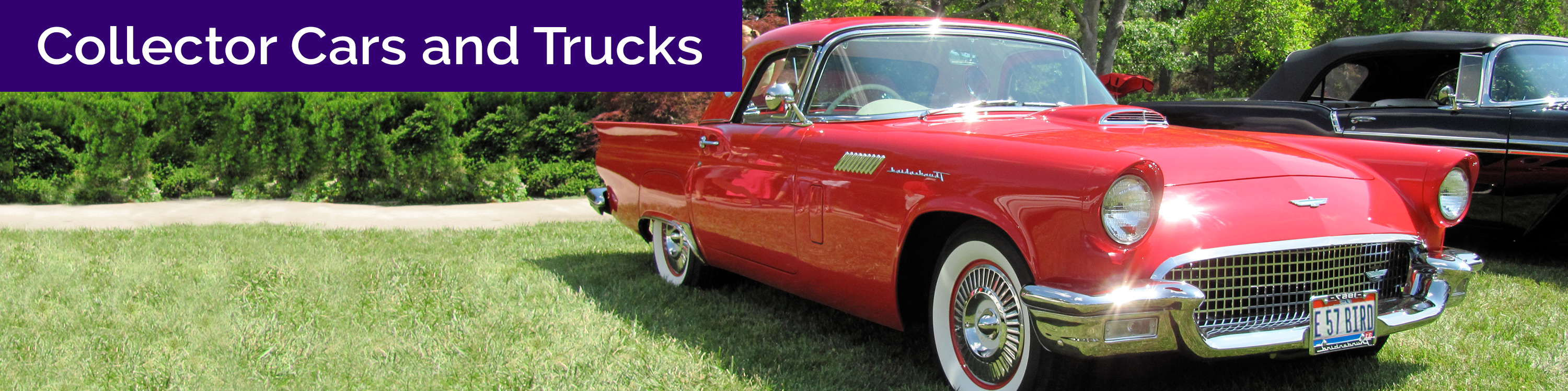 """Text: """"collector cars and trucks"""" over image of red car"""